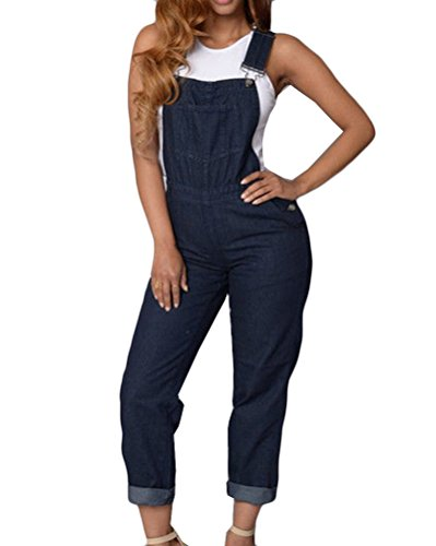 Momtuesdays2 Womens Slim Fit Adjustable Straps Denim Bib Romper Jumpsuit Overalls (L, Blue)