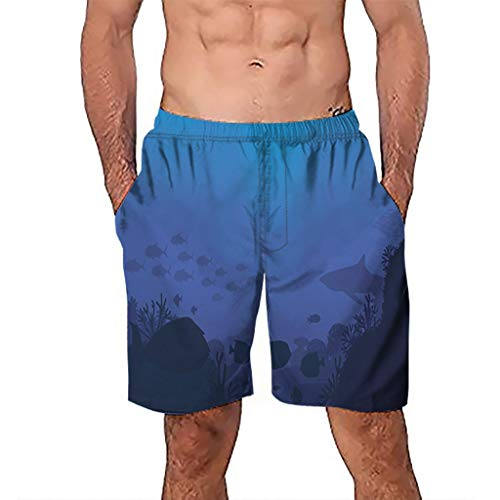 (Sinaou Men Pants Mens Swim Trunks 3D Printed Summer Quick Dry Casual Hawaiian Mesh Lining Beach Board Shorts with Pockets (Blue, 2XL))