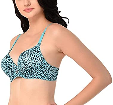 64559e6d1e5a4 Glus Women s Blended and Poly Cotton Double Padded Tiger Print Wired Push  Up Bra (Turquoise. Loading images.