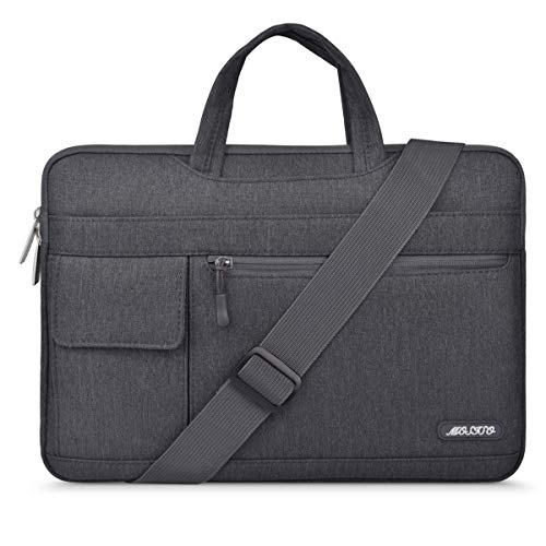 MOSISO Laptop Shoulder Bag Compatible with 2019 MacBook Pro 16 inch with Touch Bar A2141, 15-15.6 inch MacBook Pro 2012-2015, Notebook, Polyester Flapover Briefcase Sleeve Case, Space Gray