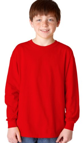 (Gildan Heavy Cotton Youth Long-Sleeve T-Shirt, Red, Small)