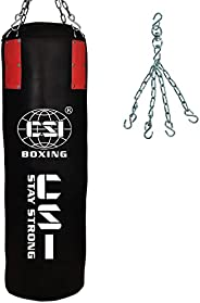 CSI Synthetic Leather Punching Bag UN-Filled (Red/Black) with Free Hanging Chain for Practice and Training