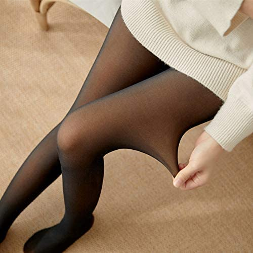 Gebuter Winter Tights for Women,Legs Fake Translucent Warm Fleece Pantyhose Slim Stretchy for Winter Outdoor