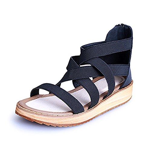 Zapatillas de Moda Sandalias correa Tobillo mujer brillante brillantes Negro