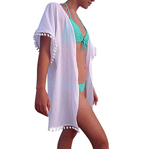 BBesty Women's Casual Boho Beach Dresses Solid Tessel Patchwork Holiday Chiffon Dress White ()