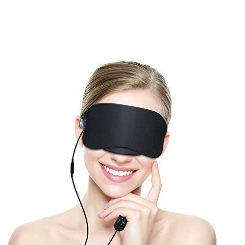 Dr. Prepare Eye Mask, USB Heated Eye Mask Warmer Electric Steam Heating Pad with Earpulgs for Sleeping, Dry Eyes, Puffy Eyes, Dark Cycles and Tired Eyes -Black ()