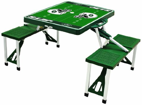 NFL New York Jets Football Field Design Portable Folding Table/Seats, Green ()