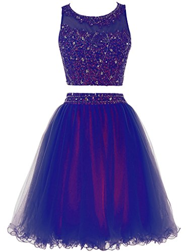 Short Women Two Homecoming Pieces Dress s Beaded Blue Royal Prom Gown Dress Solovedress Tulle wUq1gxqI