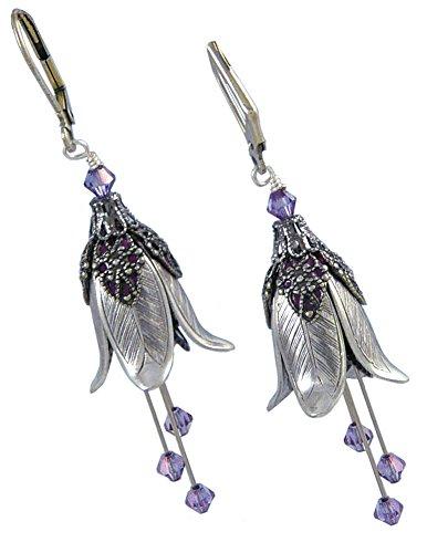 Fairy Flower Brass Leverback Dangle Earrings - Silver Bellflower - Flower Dangle Leverback Earrings