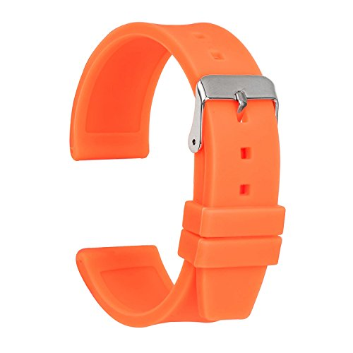 Ullchro Silicone Watch Strap Replacement Rubber Watch Band Waterproof Smooth Flexible Men Women - 16mm, 18mm, 20mm, 22mm, 24mm, 26mm, 28mm Watch Bracelet with Silver Buckle (16mm, Orange)