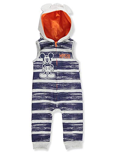 Disney Mickey Mouse Baby Boys' Hooded Coverall - Navy/Gray, 6-9 Months