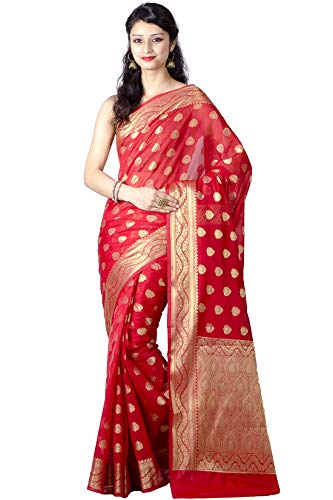 Chandrakala Women's Red Cotton Silk Blend Banarasi Saree,Free Size(9461)
