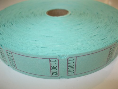 (1 X 2000 Blank Green Single Roll Consecutively Numbered Raffle)