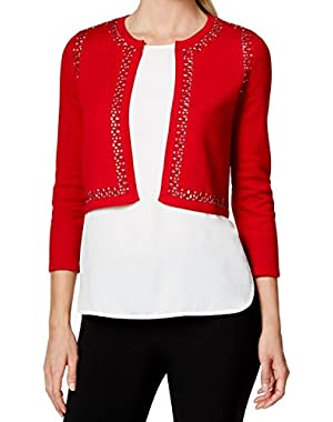 Calvin Klein Womens Large Petite Cardigan Sweater Red PL