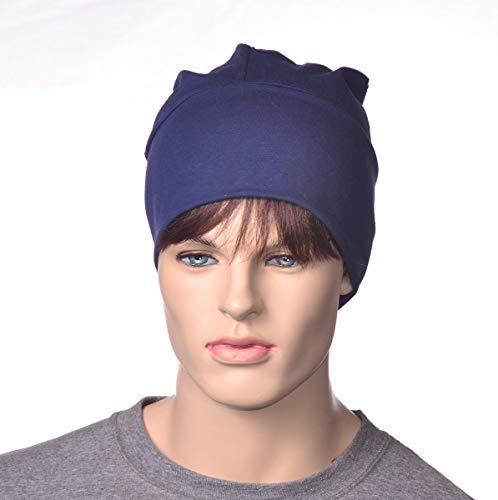 Artisan Skull Cap Navy Blue Cotton Poor Poet Hat (Cook Cap Womens)