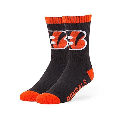 '47 NFL Cincinnati Bengals Bolt Sport Socks, Black, Medium (Men's 5-8.5/Women's 5-9.5), 1-Pack