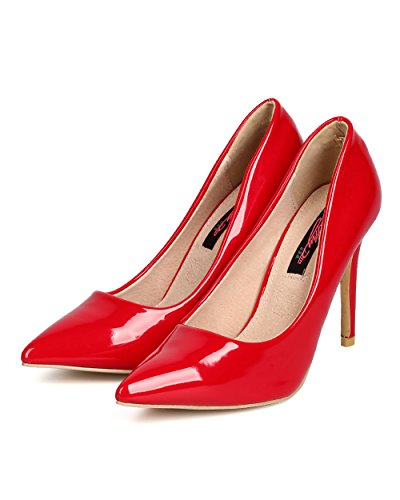 Cathy Din Ff47 Kvinner Patent Lær Spisse Tå Enkelt Såle Stiletto Pumpe - Rød