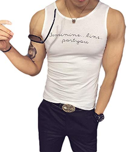 Men's Basic Cotton Summer Crew-Neck Letter Printed Slim Tank Shirt