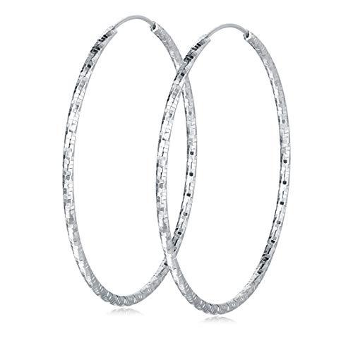 (Carleen 925 Sterling Silver Small Circle Endless Hoop Earrings For Women, 50mm)