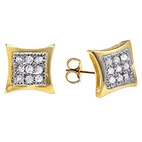 Yellow Gold Plated Sterling Silver Round Diamond Mens Kite Shape Stud Earrings ()