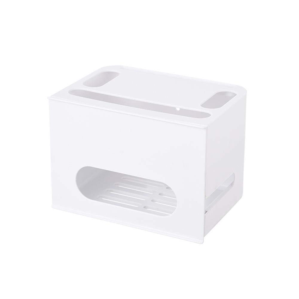 Kainuoo ホーム - 2層引き出しルーター収納ボックス用ネットワーク、ケーブル電源、パッチパネル (Color : White) B07TV5WFM2 White