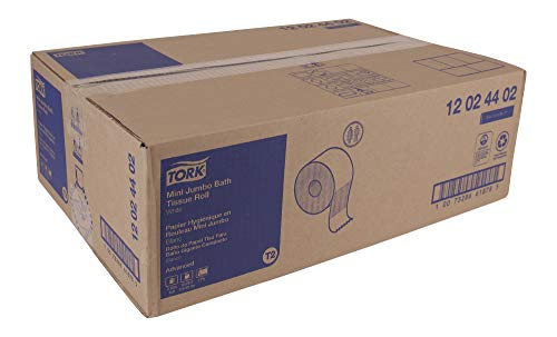 "Tork Advanced 12024402 Mini Jumbo Bath Tissue Roll, 2-Ply, 7.36"" Diameter, 3.55"" Width x 751' Length, White (Case of 12 Rolls, 751' Per Roll, 9,012 Feet)"