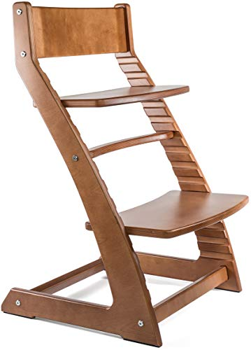- Heartwood Adjustable Wooden High Chair Walnut Color for Babies and Toddlers Highchair from 24 Months