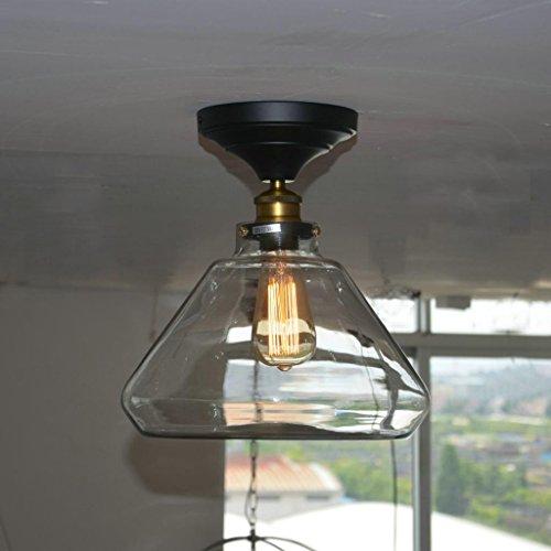 Electro_BP;Vintage Iron Glass Ceiling Light Fixture Flush Mount Light  Panited Finish