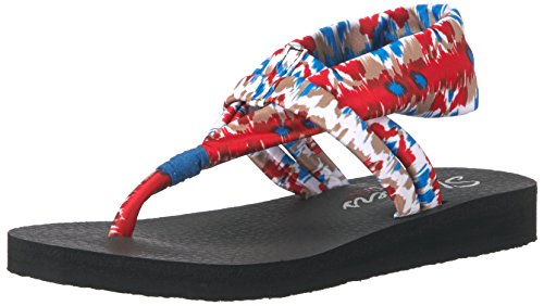 Skechers Cali Women's Meditation Fruition Toe Ring Sandal, Red/Multi, 5 M US