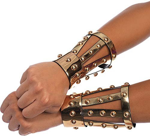 Leg Avenue Women's Chrome Vinyl Studded Arm Cuffs with Snap Closure, Gold, One Sizes Fit Most ()