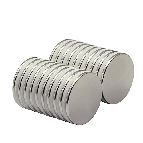 Strong Neodymium Disc Magnets 20 Pack For Kitchen, Office, Garage, Home, Workplace, 1.26''D x 0.08''H by HongsMarket (Image #2)