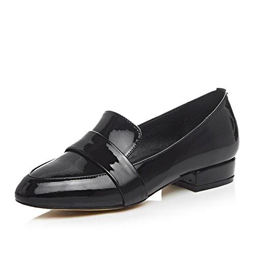 MINIVOG Womens Low-heels Glazed-leather Loafer Shoes Black 0sTxhw