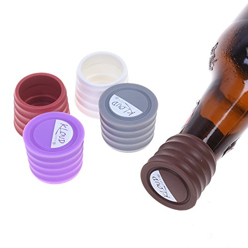 KLOUD City Pack of 5 Candy Colors Food Graded Durable Silicone Wine Beer Beverage Glass Bottle Caps Stoppers