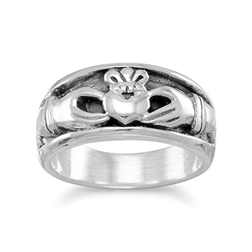 Claddagh Band Ring Mens Womens Inset Design Sizes 6-14 Antiqued Sterling Silver, 6