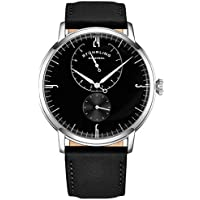 Stührling Original Mens Stainless Steel Formal Analog Dress Watch, Domed Crystal, Luxury Horween Leather Band, 24 Hour Subdial, 778 Cabaletta Watches Collection (Black)