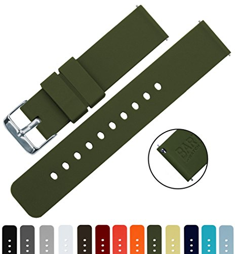 BARTON Silicone Quick Release - 24mm Width - Choice of Color - Army Green 24mm Watch Band Strap