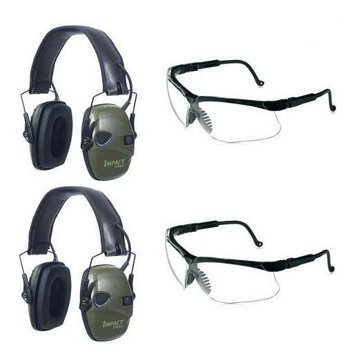 Two Howard Leight by Honeywell Classic Green Impact Sport Sound Amplification Electronic Earmuffs with Two Clear Lens Sharp-Shooter Safety Eyewear by Howard Leight