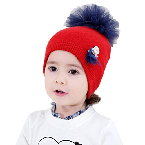 Efitty Fashion Cute Baby Beanie For Girls Cap Cotton Floral Knitted Warm  Hat best 910038c1ac19
