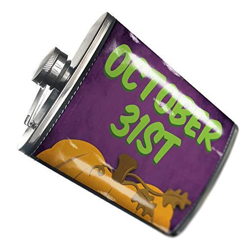(NEONBLOND Flask October 31st Halloween Pumpkin Top Hip Flask PU Leather Stainless Steel)