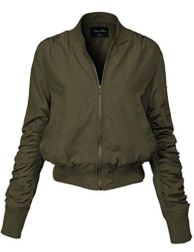 Warm Solid Color Shirring Sleeve Zipped Bomber Jackets 143-olive Large