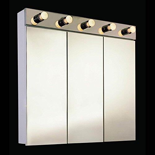Ketcham 36W x 34H-in. Tri-View Surface Mount Medicine Cabinet with Integral Light Fixture and Optional Light Strip