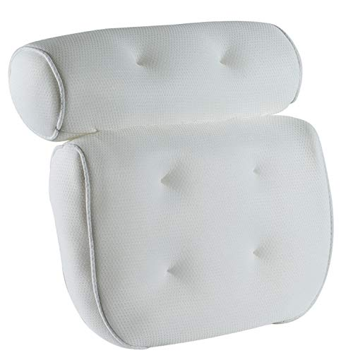 YiMeng Bath Pillow, Bathtub Spa Pillow with Mesh Fabric and 6 Suction Cups, Helps Support Head, Back, Shoulder and Neck, Fits All Bathtub, Hot Tub, Jacuzzi and Home Spa(White)
