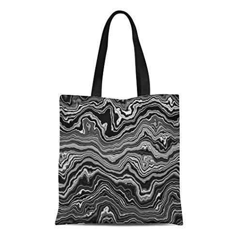 Semtomn Cotton Canvas Tote Bag Gray Agate Wide Black Onyx Slice Aragonite Band Bar Reusable Shoulder Grocery Shopping Bags Handbag Printed