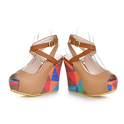 Pu Assorted Colors High Amoonyfashion Material Toes Open Soft Heel Platform Womens Sandals Peep Apricot Wedge PAH8wCq