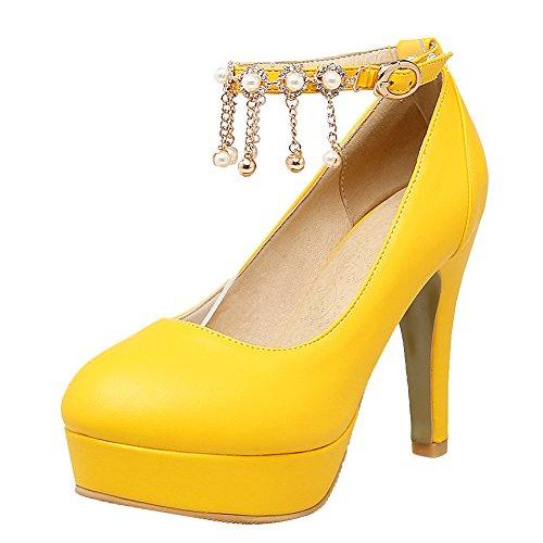 Latasa Mujeres Tobillera Correa Tacones Altos Vestido Bombas Amarillas