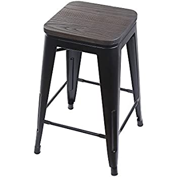 Amazon Com Gia Black 24 Quot Metal Stool With Wooden Seat 1