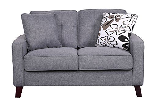 Container Furniture Direct Modern Collection Upholstered Linen Loveseat With Wood Legs and Two Button Tufted Accent Pillows, Brown