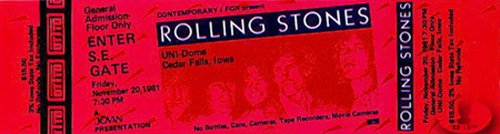Rolling Stones 1981 Unused Concert Ticket Unidome