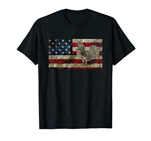 Vintage Patriotic Rooster American Flag T Shirt