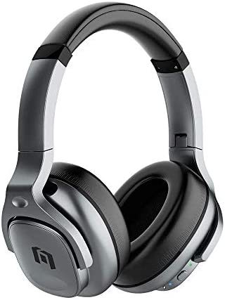 TicKasa Active Noise Cancelling Headphones Upgraded Hybrid, Wireless Bluetooth Over Ear Headphones with Built-in Microphone, 30H Playtime, Soft Protein Ear Cups for Travel,Home Office Silver